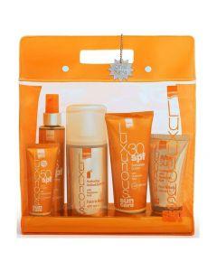 Intermed Luxurious High Protection Pack, Πακέτο Αντιηλιακής προστασίας με Body Cream SPF30, 200ml & Face Cream SPF50+, 75ml & Suncare Tanning Oil Spf6, 200ml & After Sun Cooling Gel, 150ml & Hydrating Antioxidant Mist, 400ml