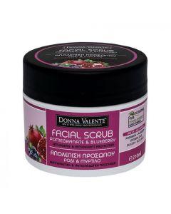 Donna Valente Pomegranate & Blueberry Exfoliating Facial Scrub, 210gr