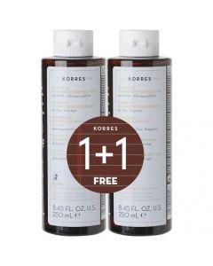 Korres Σαμπουάν (1+1 Δώρο) με Πρωτεΐνες Ρυζιού και Τίλιο για Λεπτά και Αδύναμα Μαλλιά, 250ml