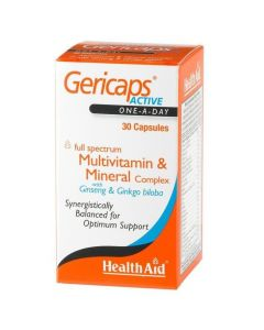 Health Aid Gericaps Active Multivitamin Ginseng & Gingo Biloba, 30caps