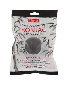 Beauty Formulas Bamboo Charcoal Konjac Facial Sponge, 1τμχ