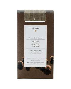 Korres Βαφή ARGAN OIL Advanced Colorant 7.1 Ξανθό Σαντρέ, 50ml