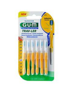 Gum Trav-ler Interdental Brush Μεσοδόντιο Βουρτσάκι 1.3mm Κίτρινο, 6τεμ