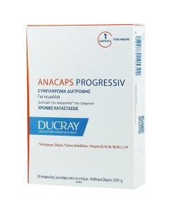 Ducray Anacaps Progressiv Συμπλήρωμα Διατροφής κατά της προοδευτικής Τριχόπτωσης, 30 caps