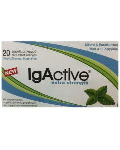 IgActive Παστίλιες Λαιμού Μέντα & Ευκάλυπτος, Extra Strength Sugar Free, 20τμχ