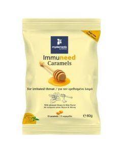 MyElements Immuneed Caramels Καραμέλες για τον Ερεθισμένο Λαιμό, με ευχάριστη γεύση Μελιού & Μέντας, 15 lozenges