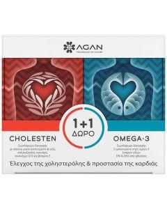 Agan Cholesten, 30 vcaps & Δώρο Omega-3 1000mg, 30 softgels