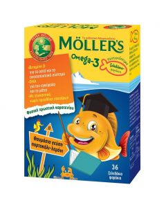 Moller's Ζελεδάκια Ω3 για Παιδιά, με γεύση Πορτοκάλι - Λεμόνι, 36 gummies