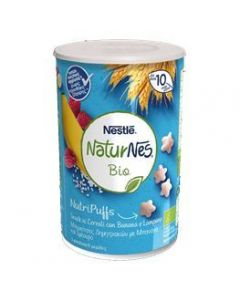 Naturnes®Bio Nutripuffs, Βραφικές Μπουκίτσες Δημητριακών με Μπανάνα και Σμέουρο, 35gr