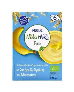 Nestle Naturnes Bio, Βιολογικά Δημητριακά Σιτάρι, Βρώμη, Μπανάνα & Γάλα, 200gr