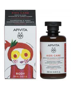 Apivita Gentle Kids Shampoo & Conditioner with pomegranate & honey, Σαμπουάν και Conditioner με ρόδι και μέλι, 250ml