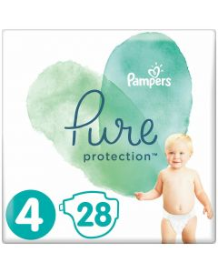 Pampers Pure Protection Πάνες No4 (9-14kg), 28τμχ