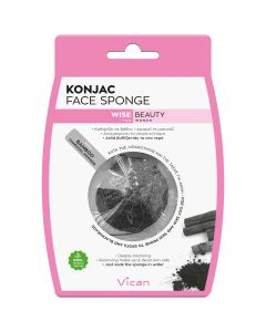 Vican Wise Beauty Konjac Face Sponge Bamboo Charcoal Powder, 1τμχ