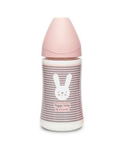 Suavinex Πλαστικό Μπιμπερό Whiskers Pink, 270ml