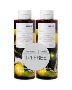 Korres Citrus Renewing Body Cleanser, 2x250ml