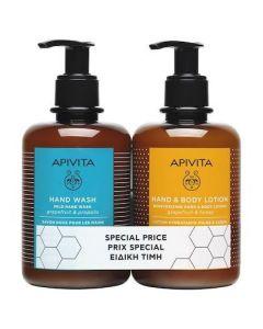 Apivita Promo Hand Wash 300ml & Moisturizing Hand And Body Lotion, 300ml