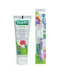Gum Promo Kids Touthbrush 3-6 Years Μωβ & Gum kids Toothpaste Strawberry 2-6 Years 50ml, 2τμχ