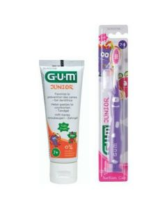 GUM Promo Junior Touthbrush 7-9 Years Purple + Gum Junior Toothpaste Tutti Frutti 7+Years 50ml, 2τμχ