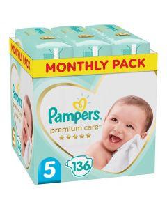 Pampers Premium Care Πάνες Μέγεθος 5 (11-16kg), 136 Πάνες
