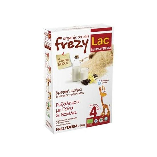 Frezyderm Frezylac Bio Cereal Βρεφική Κρέμα Ρυζάλευρο µε Γάλα & Βανίλια 4m+, 200gr