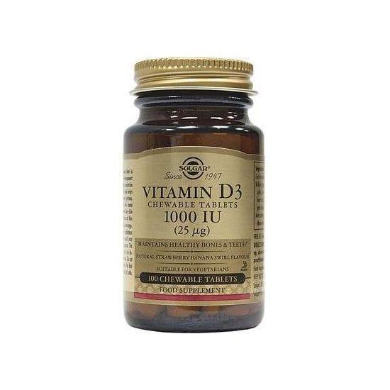 Solgar Vitamin D3 1000IU (25μg), 100chew. tabs