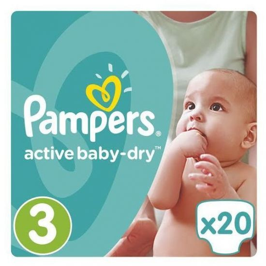Pampers Active Baby Dry Carry Pack No.3 (Midi) 5-9 kg Βρεφικές Πάνες, 20τμχ