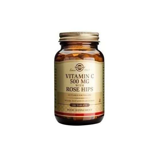 Solgar Vitamin C 500mg with Rose Hips, 100tabs