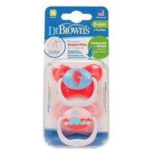 Dr. Brown's Prevent PV 12302 Πεταλούδα 0-6m Χρώμα Ροζ, 2τμχ