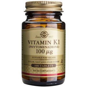 Solgar Vitamin Κ1 100μg Λιποδιαλυτή βιταμίνη μορφής Κ1 (φυτοναδιόνη), 100tabs