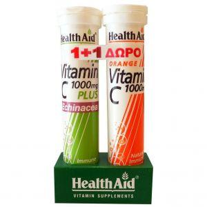 Health Aid Vitamin C 1000mg Plus Echinacea, 20tabs & Δώρο Vitamin C 1000mg, 20tabs