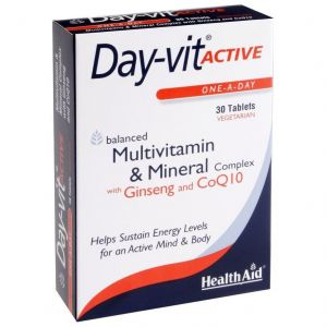 Health Aid Day-vit Active, Multivitamin & Mineral & Co Q10-Ginseng, 30tabs