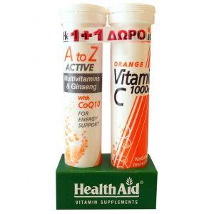 Health Aid A to Z - Multivitamins & Ginseng with CoQ10, 20tabs & Health Aid Vitamin C 1000mg Orange, 20tabs