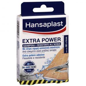 Hansaplast Extra Power, Αδιάβροχα, με έξτρα κολλητική ικανότητα, με τεχνολογία HI-DRY TEX, 8 επιθέματα των 10cm x 6cm