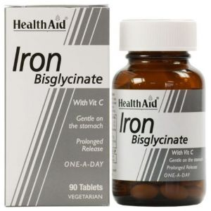 Health Aid Iron Bisglycinate with Vit C Σίδηρος Δισγλυκινικός 30mg με Βιταμίνη C, 90 tabs
