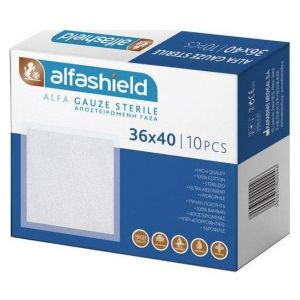 Alfashield Γαζες Αποστειρωμένες 36x40cm, 10τμχ