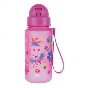 Littlelife Παγούρι με Καλαμάκι Σχέδιο Πεταλούδες Ροζ, 400ml