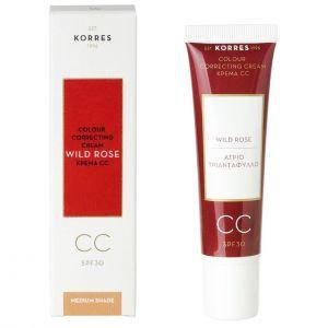 Korres Wild Rose Colour Correcting Cream Medium Shade - Ενυδατική Κρέμα για Λάμψη και Πρώτες Ρυτίδες, 40ml