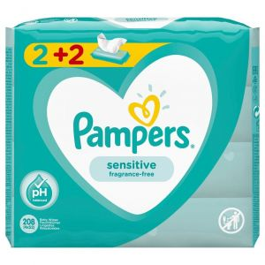 Pampers Sensitive 2+2 Δώρο, 4x52τμχ