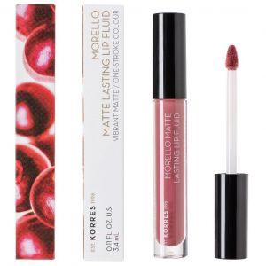 Korres Morello Matte Lasting Lip Fluid 10 Damask Rose, 3,4ml