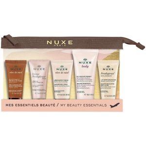 Nuxe My Beauty Essentials XMas Travel Set Reve De Miel Face Cleansing, 15ml & Hand Nail Cream, 15ml & Creme Prodigieuse Boost Gel Cream, 15ml & Body Shower Gel, 30ml Prodigieux Body Lotion, 15ml