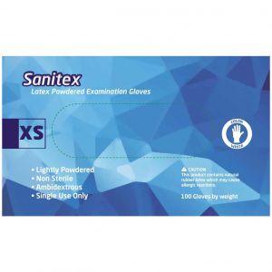 Sanitex Γάντια Εξεταστικά Λάτεξ με Πούδρα Extra Small, 100τμχ