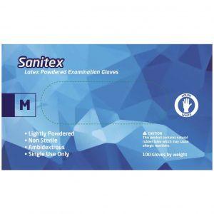 Sanitex Γάντια Εξεταστικά Λάτεξ με Πούδρα Medium, 100τμχ