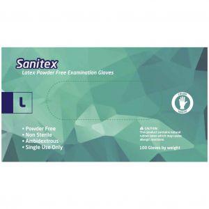 Sanitex Γάντια Εξεταστικά Λάτεξ χωρίς Πούδρα Large, 100τμχ