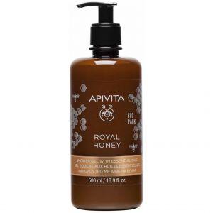Apivita Royal Honey Shower Gel με Essential Oils, Κρεμώδες Αφρόλουτρο με Αιθέρια Έλαια & Μέλι, 500ml