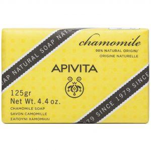 Apivita Natural Soap Chamomile, Σαπούνι με χαμομήλι για πρόσωπο και σώμα, 125gr