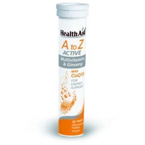 Health Aid A To Z Active Multivitamins & Q10, με Γεύση Tutti-Frutti, 20eff.tabs