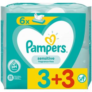 Pampers Sensitive 3+3 Δώρο, 6x52τμχ
