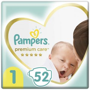 Pampers Premium Care Πάνες Value Pack No1 (2-5kg), 52τμχ