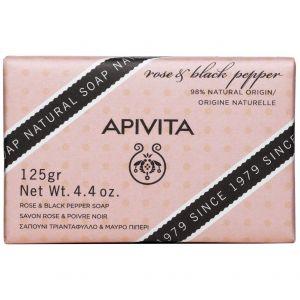 Apivita Σαπούνι Τριαντάφυλλο & Μαύρο Πιπέρι, 125gr