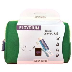Elgydium Dental Travel Kit με Elgydium Pocket Οδοντόβουρτσα, 1τμχ & Antiplaque Οδοντόκρεμα 50ml & Dental Floss Black 5ml & Τσαντάκι Μεταφοράς Πρασινο, 1τμχ